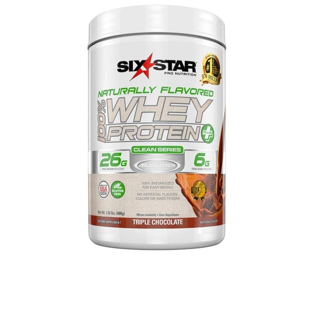 Six Star Naturally Flavored 100 Percent Whey Protein Plus Chocolate, 1.5