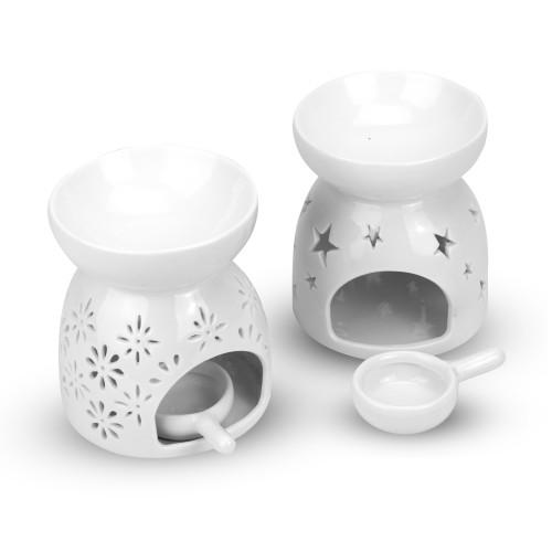 Ceramic Oil Burners - Set of 2   MandW Star and Flower