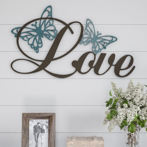 """LOVE"" Rustic Metal Cutout Wall Art"