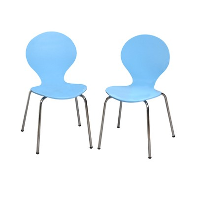 Childrens 2 Chair Set With Chrome Legs (Blue Color)
