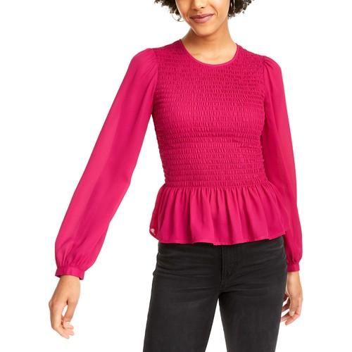 Leyden Women's Smocked Peplum Blouse Pink Size X-Large