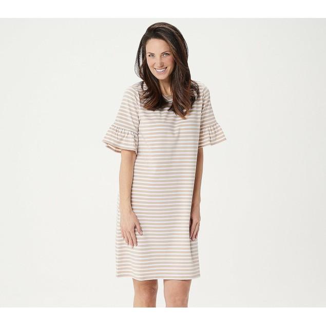 Isaac Mizrahi Live! Ruffle Sleeve Striped Knit Dress, XX-Small, Country