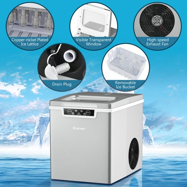 Costway Ice Maker Machine Countertop 26Lbs/24H Portable W/Scoop & Basket Si
