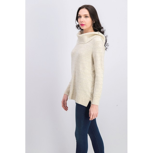 Style & Co Women's Lurex Cowl-Neck Sweater White Size Extra Large