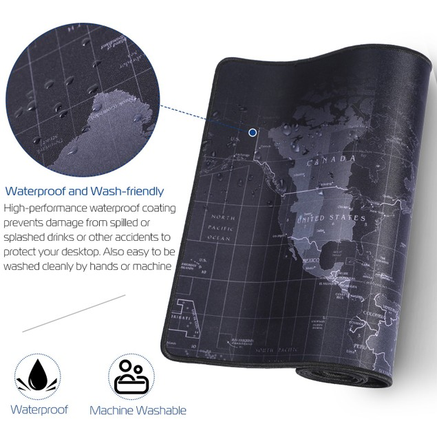 Large Gaming Mouse Pad Non-Slip Rubber Base  Mousepad World Map