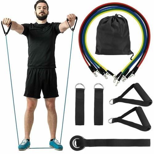11PC/Set Resistance Bands Yoga  Exercise Fitness Tube Workout Band