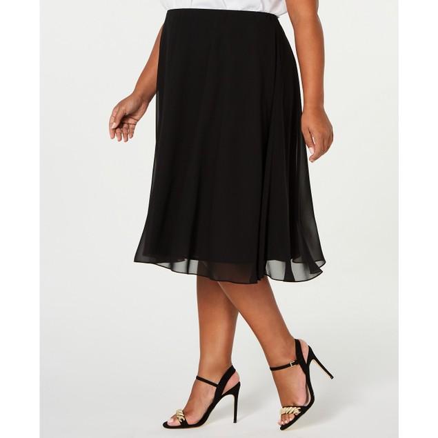 Alex Evenings Women's Midi Length Skirt Black Size 1X