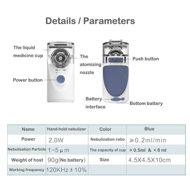 Portable Ultrasonic Mini Nebulizer Inhaler Handheld Nebulizer Kit