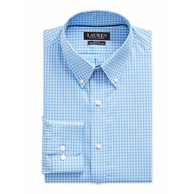 Ralph Lauren Regular Fit Stretch Gingham Dress Shirt Blue 16.5x34-35