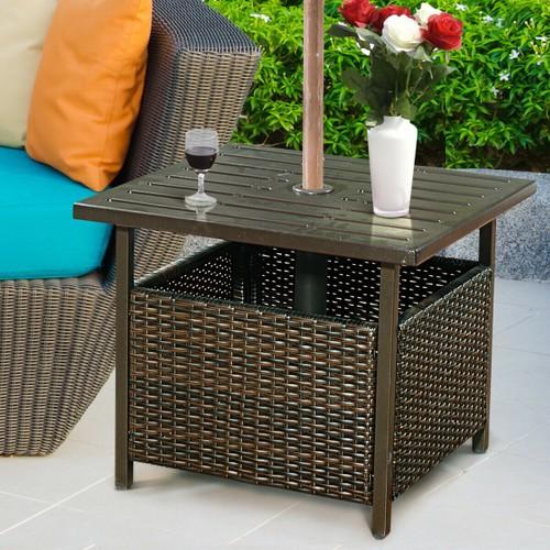 Costway Brown Rattan Wicker Steel Side Table Outdoor Furniture Deck Garden