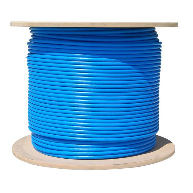 Bulk Cat6a Blue Ethernet Cable, 10 gig Solid, UTP 1000 foot