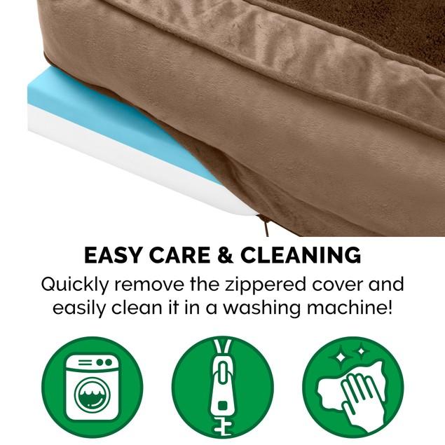 FurHaven Plush & Velvet Comfy Couch Cooling Gel Orthopedic Sofa Pet Bed