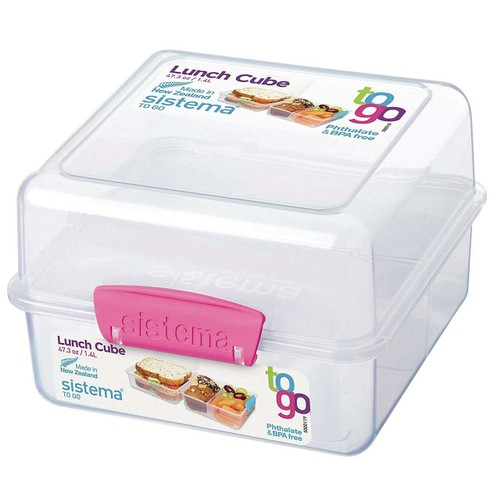 4-PACK Sistema To Go Lunch Cube Food Storage Container, BPA Free, 1.4