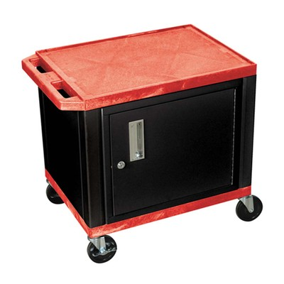 """Luxor 26"""" Two Flat Shelves AV Electric Cart with Cabinet - Black Legs, Red"""