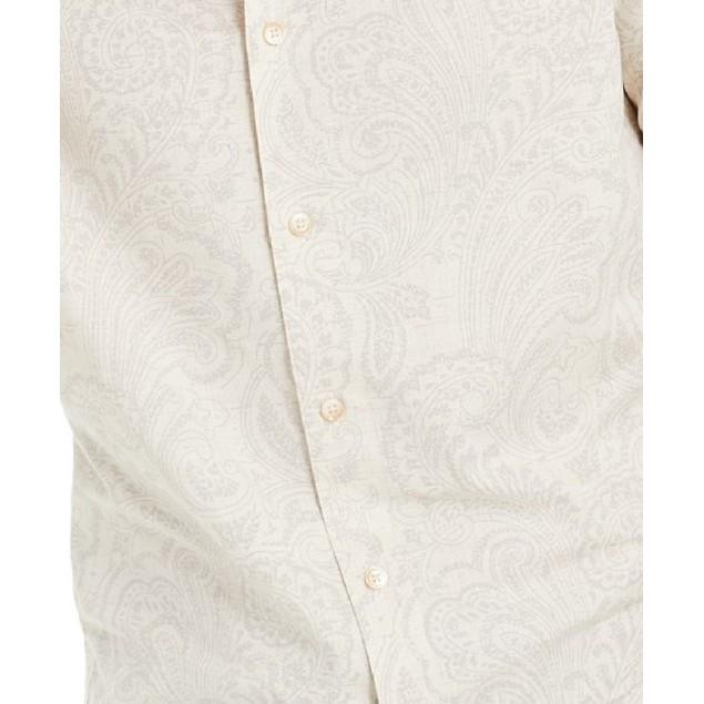 Tasso Elba Men's Pillo Melange Paisley Shirt Khaki Size Extra Large