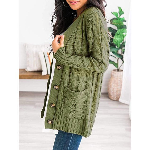 Warm Cardigan Sweater W/Front Button