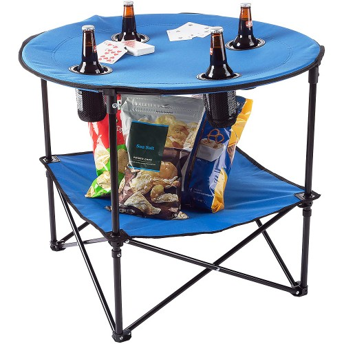 "Round Folding Table - 24"" Portable Picnic Beach Table W/ Bag"