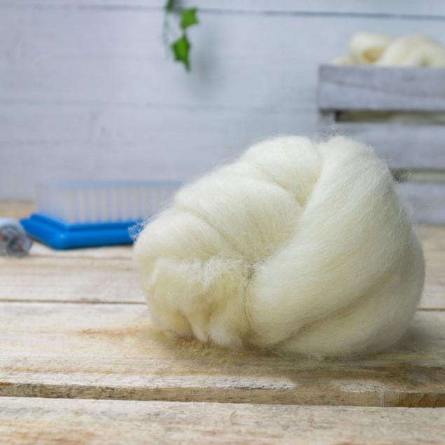 Natural Wool Roving - 200g   Pukkr