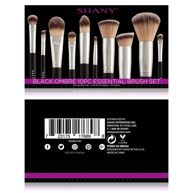 SHANY Black OMBRÉ Pro Essential Brush Set- 10pc