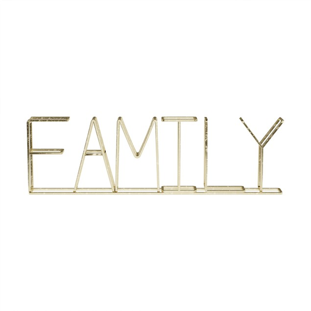"""""""FAMILY"""" Metal Cutout Free-Standing Table Top Sign"""