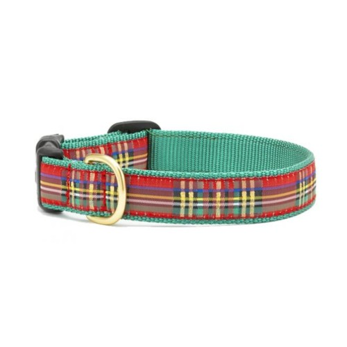 """Up Country Christmas Sparkle Plaid Dog Collar (1"""" Wide Large (15""""-21""""))"""