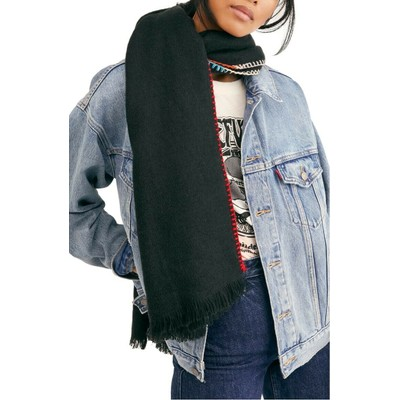 Free People Women's Common Thread Blanket Stitch Scarf Black Size One Size
