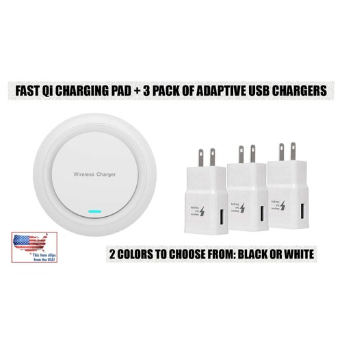 Wireless Charging Qi Pad + 3-Pack of Fast Charging USB Wall Chargers