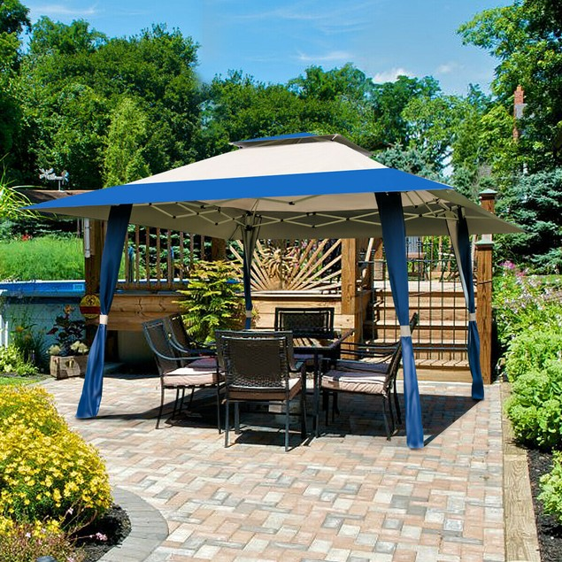 Costway 13'x13' Folding Gazebo Canopy Shelter Awning Tent Patio Garden Outd