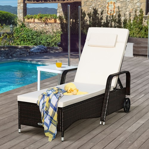 Patio Rattan Lounge Chair Chaise Adjustable Recliner Cushioned Sofa Garden