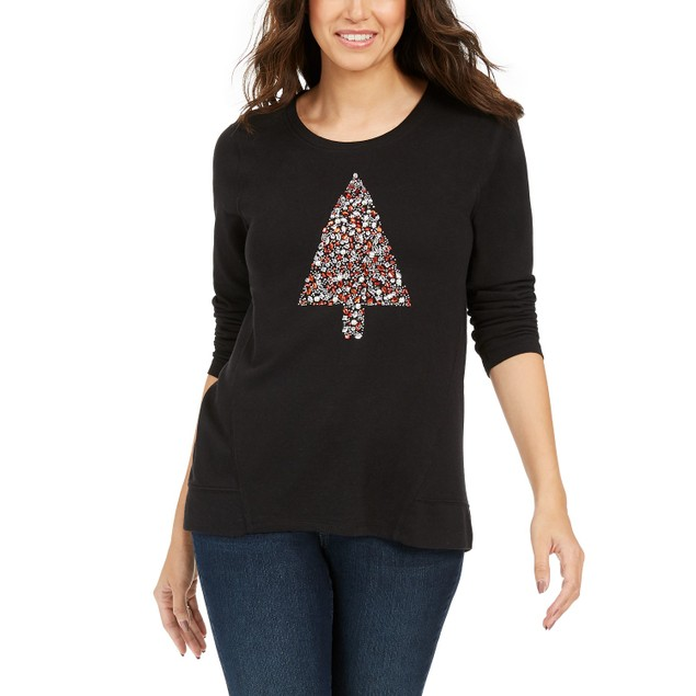 Style & Co Women's Embellished Tree Sweatshirt  Black Size Small
