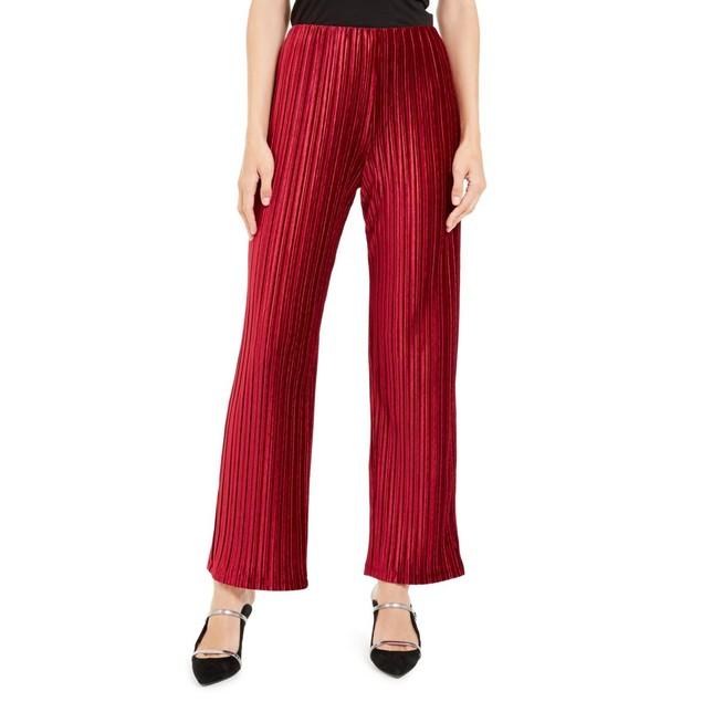Alfani Women's Pull-On Velvet Wide-Leg Pants Red Size Large