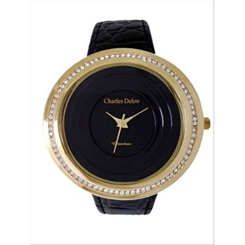 Charles Delon Women's Watches 5480 LGBB Black/Gold Leather Quartz Round Analog