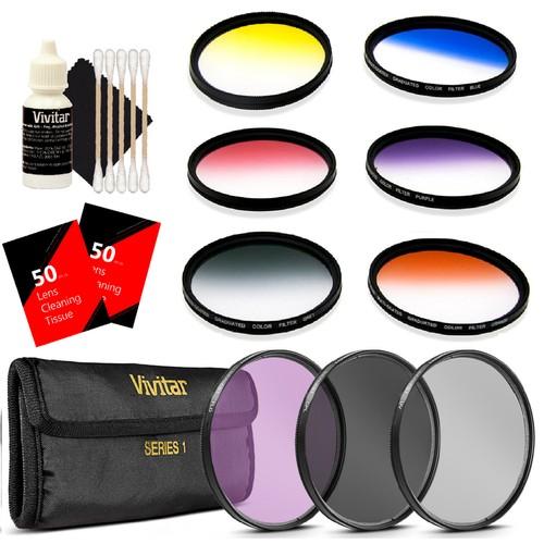Vivitar 52mm Graduated 6pc Clear Filter + 52mm Vivitar 3pc Filter Kit UV/CPL/FDL