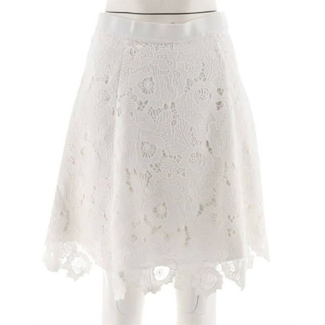 Isaac Mizrahi Live! Floral Lace Elastic Waistband Skirt, Regular 12, White