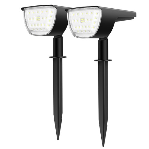 2Pcs 32 LEDs Solar Landscape Spotlights IP65 Waterproof Solar Lights