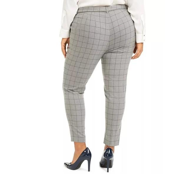Calvin Klein Women's Belted Windowpane-Print Slim-Leg Pants Gray Size 22W