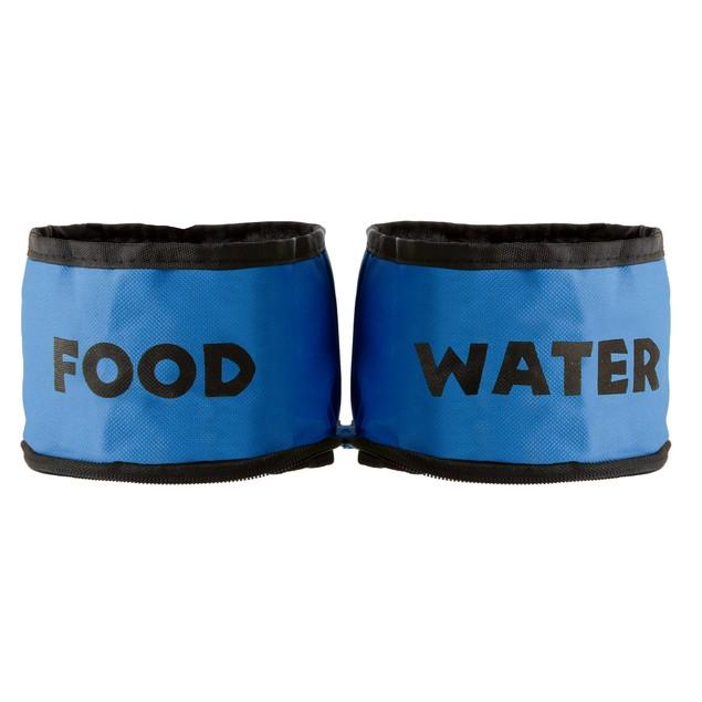 Collapsible Travel Pet Bowls Set of 2  - Blue