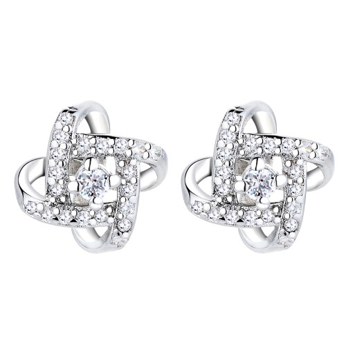 Sterling Silver Love Knot Stud Earrings With Genuine Crystals