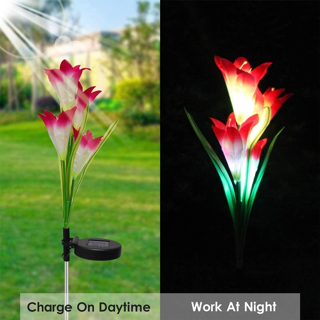 Outdoor Solar Garden Lights Waterproof Color Changing Lily Flowers Decor