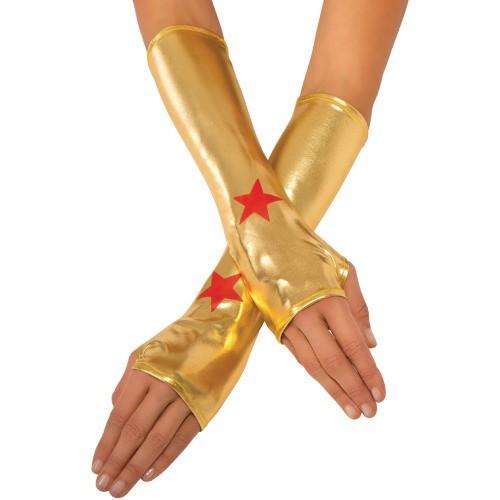 Wonder Woman Adult Gauntlets Superhero Halloween Costume Womens Gold Red