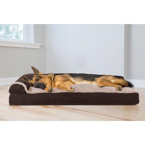 FurHaven TwoTone Faux Fur & Suede Deluxe Chaise Lounge Pillow Sofa Pet Bed