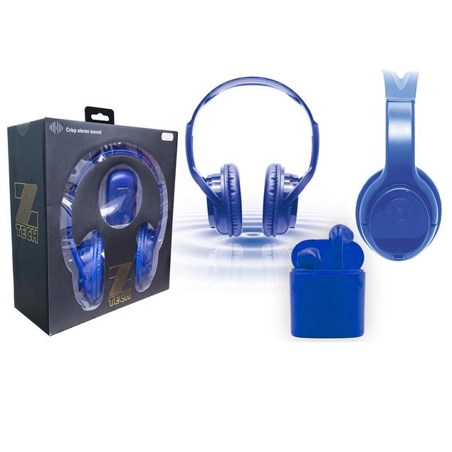 Zummy Wireless Over Ear Bluetooth Headphones and True Wireless Earbud Set