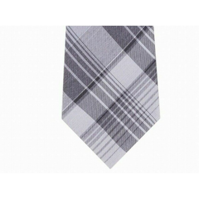 Kenneth Cole Reaction Men's Turning Point Plaid Slim Tie Gray Size Regular