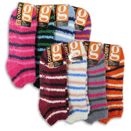 8-Pairs Cozy Fuzzy Winter Women Gripper Slippers Socks- 2 Styles