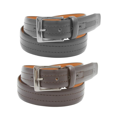 2 Pack: Mens Black & Brown Leather Belts