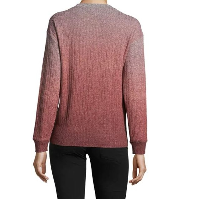 John Paul Richard Women's Ombre Tie Hem Sweatshirt Orange Size Medium