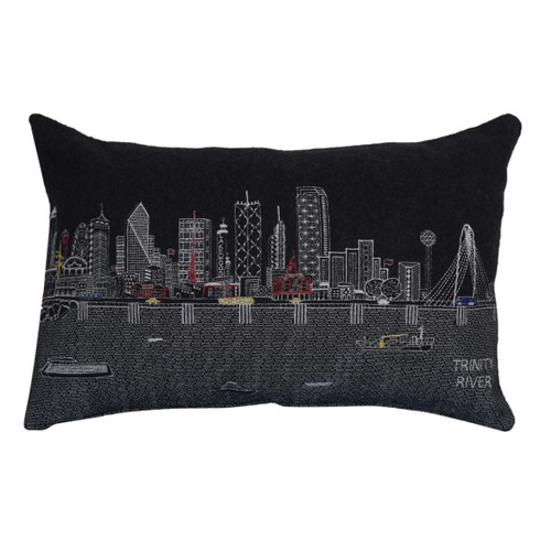 Spura Home Dallas Printed Skyline Embroidered Wool Cushion Day/Night