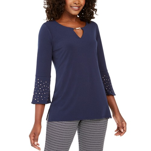 JM Collection Women's Rhinestone-Sleeve Keyhole Top Blue Size Small