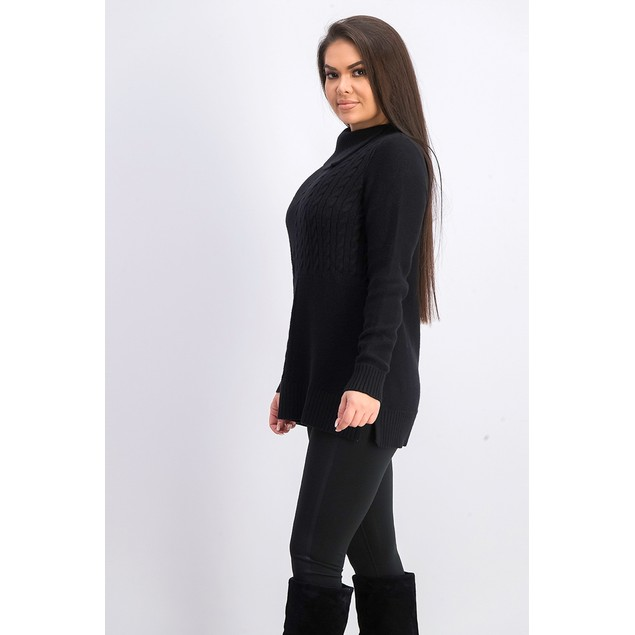 Charter Club Women's Patchwork-Stitch Asymmetrical-Collar Black Size Large