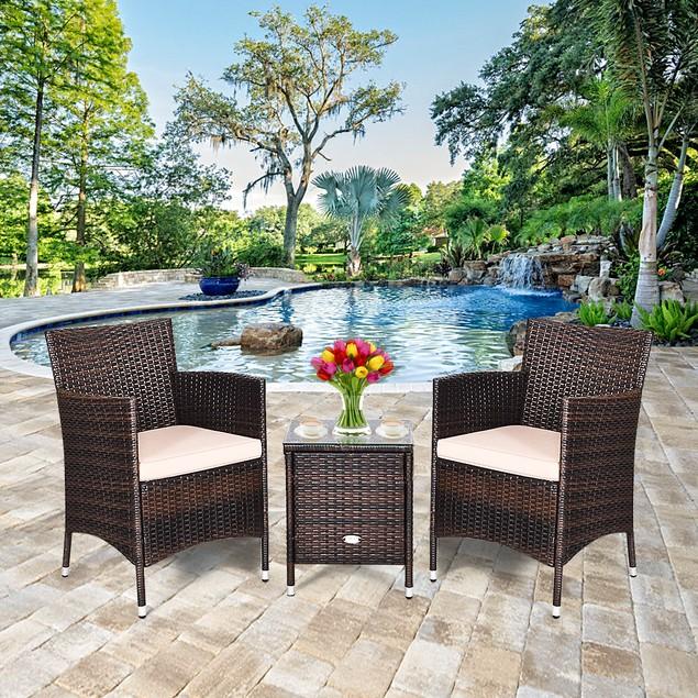 Costway 3 PCS Outdoor Rattan Wicker Chair Set W/ Coffee Table